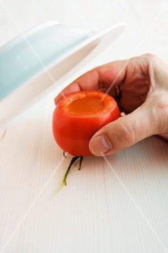 Tomato soup in a hollowed out tomato