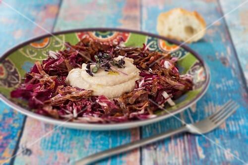 White bean purée with a radiccio salad