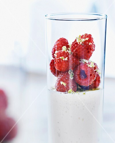 Fruit Smoothie in a Glass, Fresh Raspberries