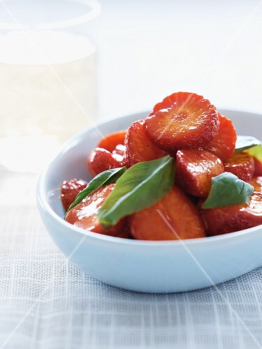 Strawberry salad with basil