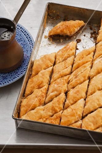 Baklava in a baking tray