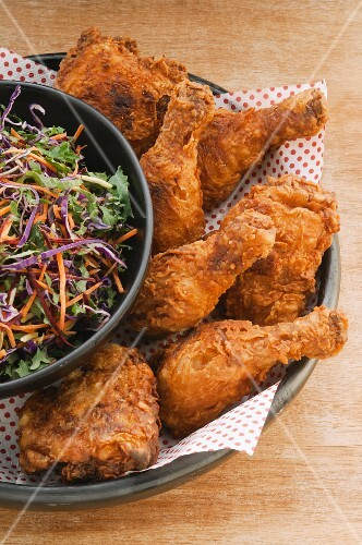 Fried chicken with cabbage salad
