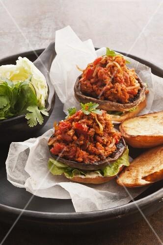 Mushroom burger with tomato tatar
