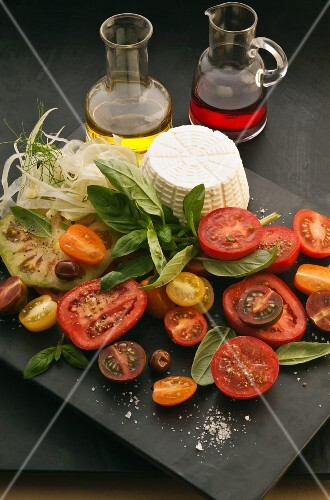 Ingredients for tomato salad with ricotta