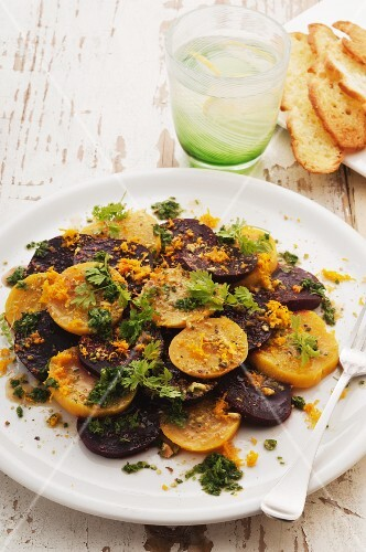 Warm beetroot with herbs and pistachio nuts