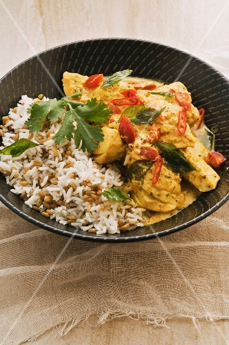 Fish curry with yoghurt and rice
