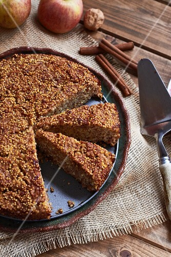 Millet and apple cake, sliced