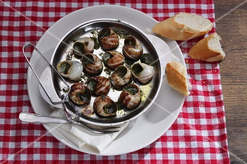Vineyard snails with herb butter and baguette