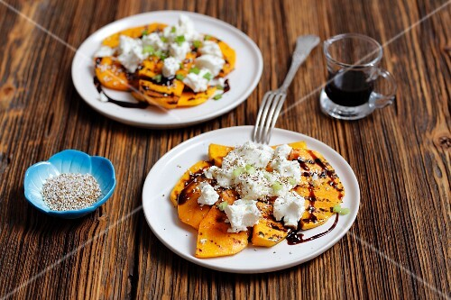 Grilled pumpkin with goat's cheese, balsamic vinegar and roasted amaranth