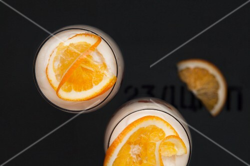 Orange desserts in glasses