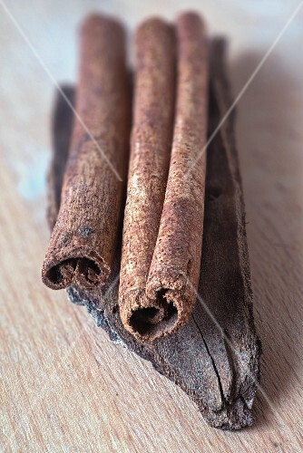 Ceylon cinnamon sticks on a piece of cassia cinnamon