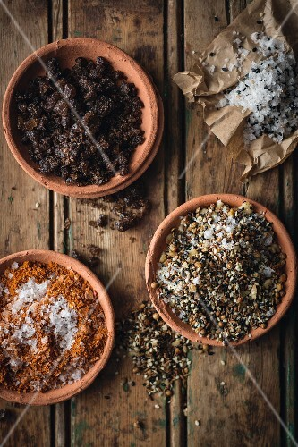 Assortment of different flavored salts