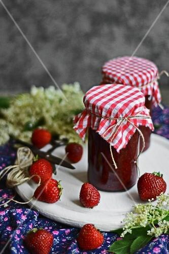 Jars of strawberry and elderflower jam