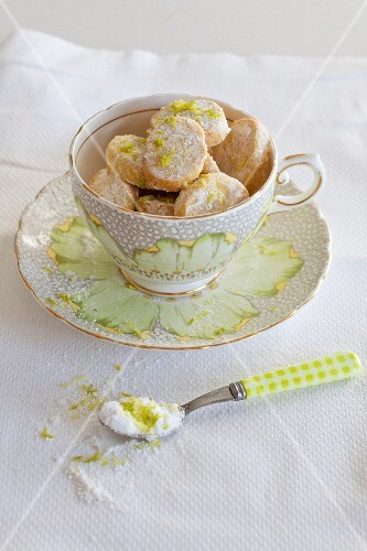 Shortbread cookies with lime zest in a cup