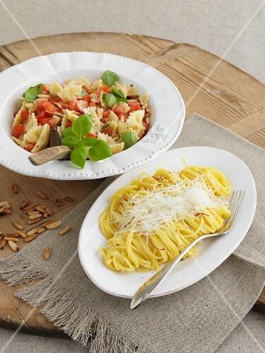 Pasta al pomodoro crudo and spaghettini allo zafferano