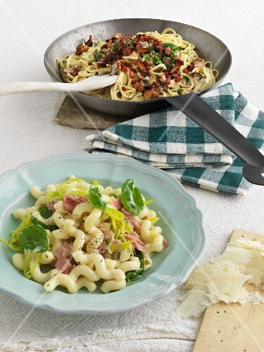 Linguine with chanterelle mushrooms, and cavatappi with leek and ham