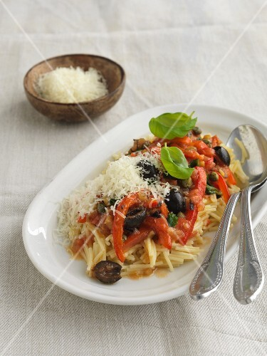 Vermicelli Siracusana with peppers, olives and anchovies