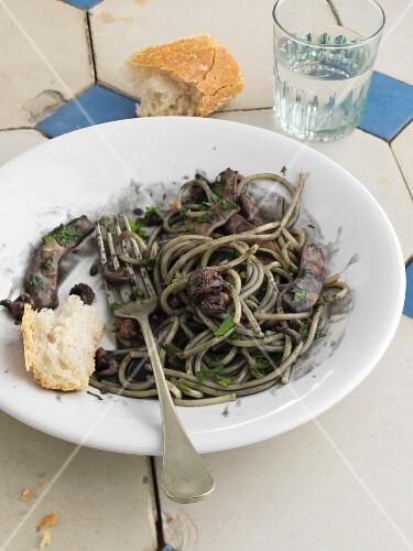 Spaghetti neri with squid