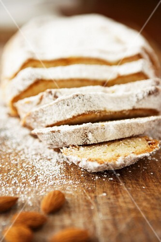 Almond stollen, partially sliced