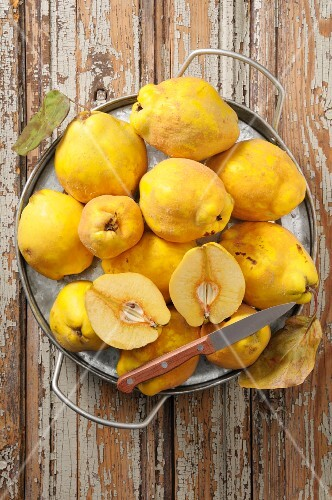 Quinces on a rustic wooden table