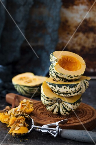 Acorn squash, halved and hollowed out