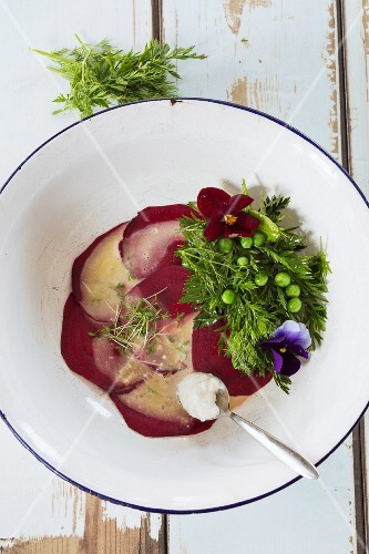 Beetroot carpaccio with herbs