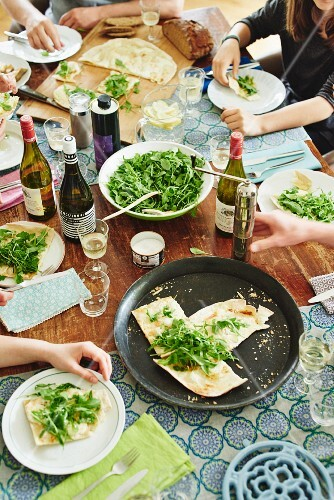 Vegetarian tarte flambée for guests