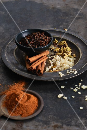 Various spices on a plate