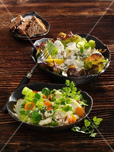 Brussels sprouts salad with yoghurt sauce, and cauliflower salad with lemon balm cream