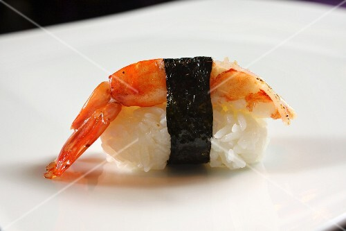 An ebi sushi: nigiri sushi with prawns