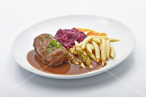 Beef roulade with potato orzo pasta and red cabbage