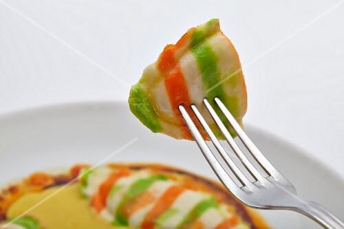 Red, white and green ravioli