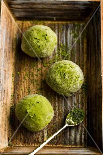 Mochi balls with matcha (Japan)