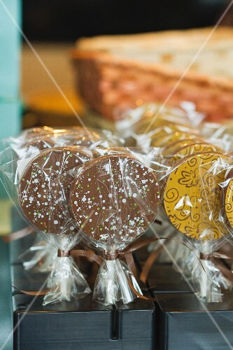 Chocolate lollies wrapped in cellophane