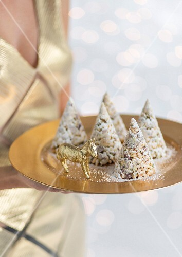 Puffed rice & cherry cones for a Christmas party