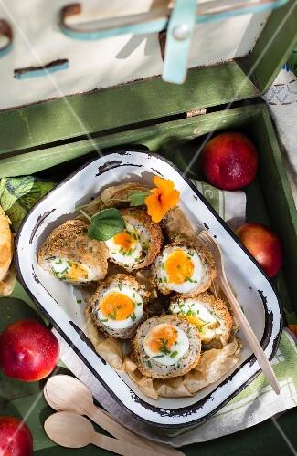 Scotch eggs in a picnic case