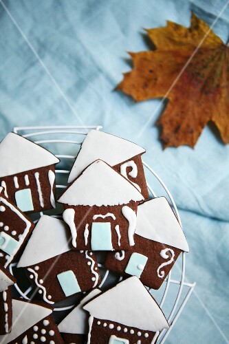 Chocolate houses with white fondant roofs