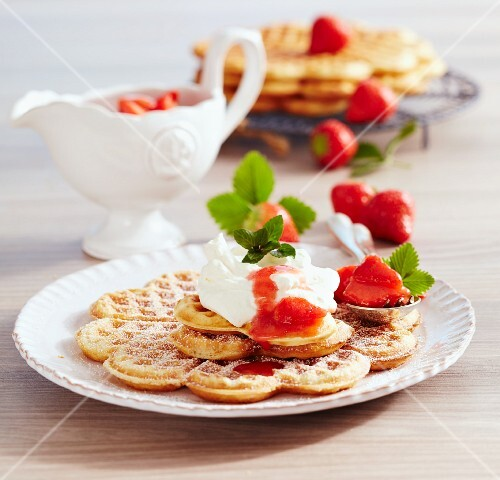 Luxembourg waffles with strawberries and cream
