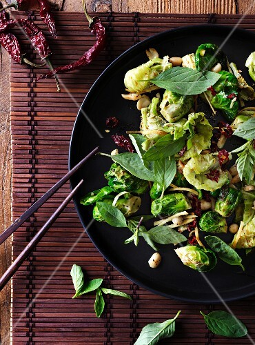 Fried Brussels sprouts with chilli, Thai basil and peanuts