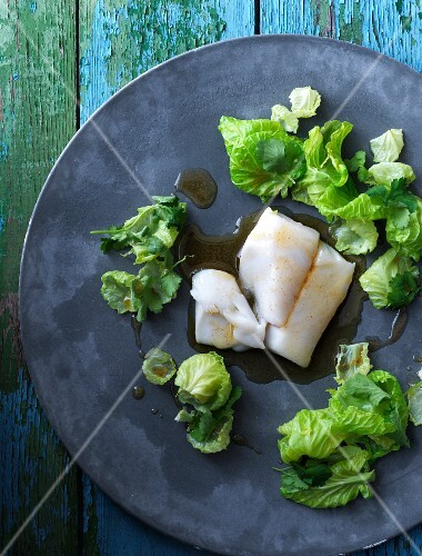 Brussels sprouts with brown butter and cod