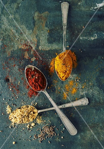 Ground paprika, turmeric, cumin and fennel seeds