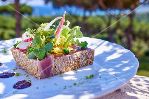 Tuna fish steak with sesames seeds and lettuce