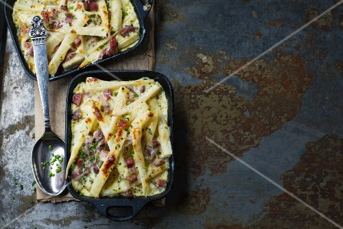 Parsley root gratin with bacon and herbs