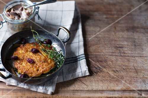 A turnip fritter with dried cranberries