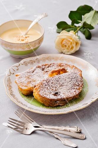 French toast with vanilla sauce