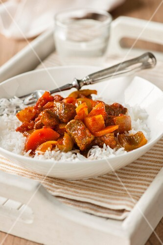 Beef goulash on a bed of rice