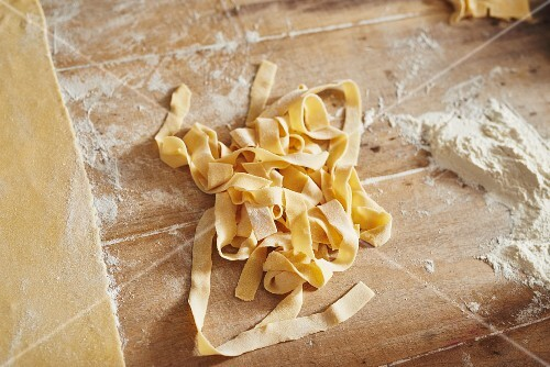 Home-made ribbon pasta