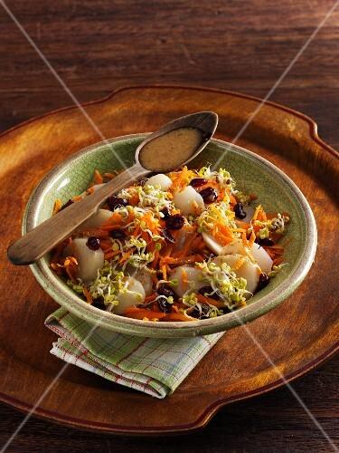 Jerusalem artichoke salad with carrots, cranberries and radish shoots