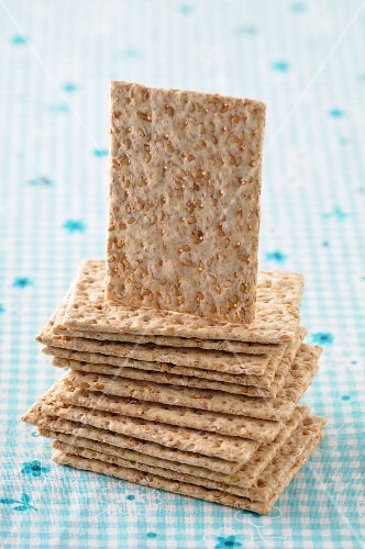 Stacks of sesame crackers