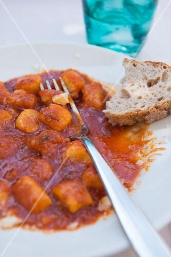 Gnocchi Amatriciana with tomato sauce, Italy